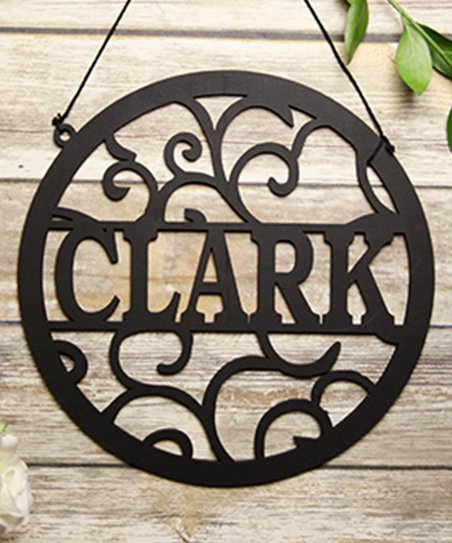 Cabany Co Black Circle Vines Last Name Personalized Wall Sign  6f003a7e9