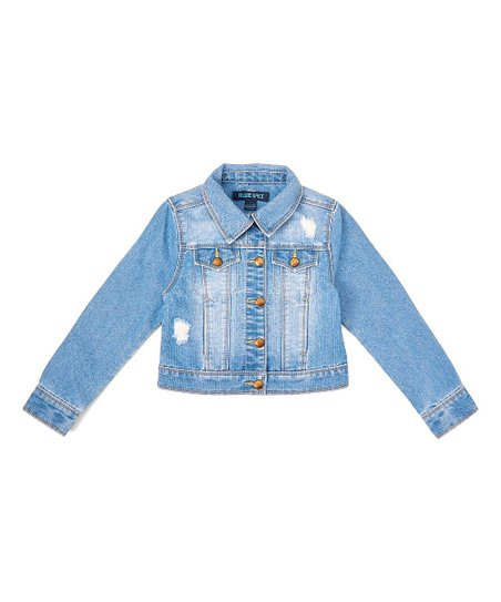f5a0c5ced Squeeze Light Stone Wash Distressed Denim Jacket - Girls