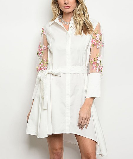 ca898cd84b5c1 love this product Off-White Floral Sheer-Sleeve Shirt Dress