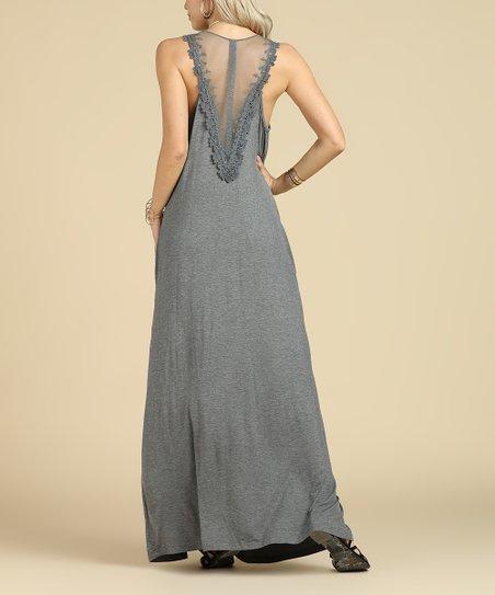 bce8bfbda3f3d Suzanne Betro Dresses Charcoal Lace-Back Sleeveless Maxi Dress ...