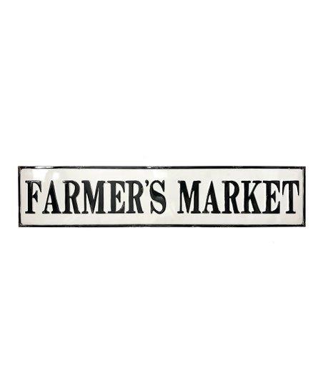 Farmers Market Enamel Wall Sign White Black
