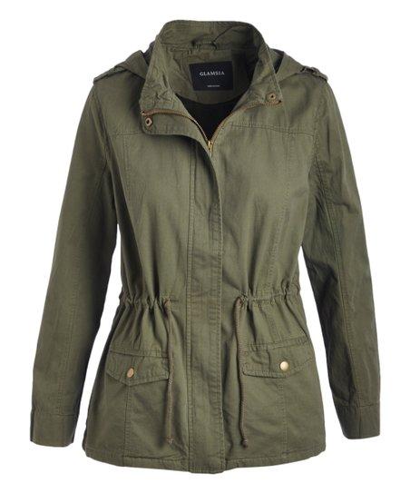 0e761c95ef009 love this product Olive Drawstring Hooded Utility Jacket - Women