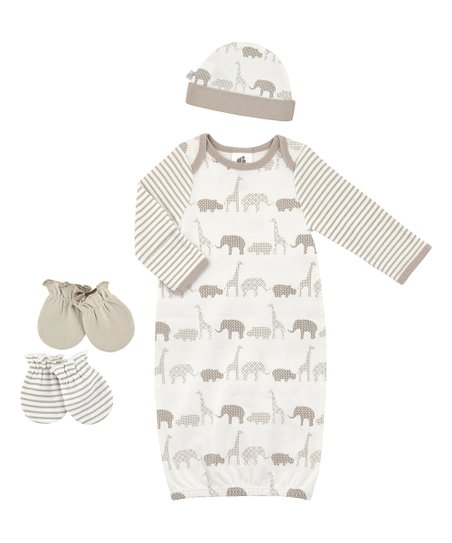 7557128ed6310 Just Born White & Tan Safari Animal Gown Set - Infant | Zulily