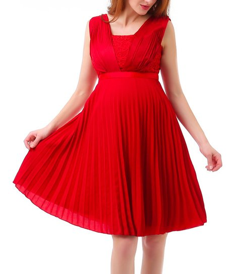 b279626072 love this product Red Pleated Maternity A-Line Dress