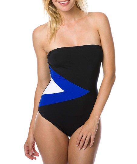 e8442fda1a7a7 love this product Blue & Black Color Block Bandeau One-Piece - Women