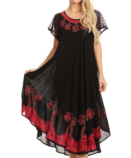 81452102629 love this product Black   Red Batik Maxi Dress - Women