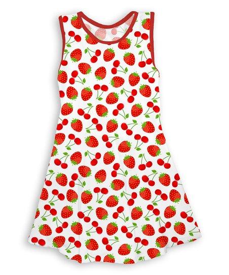 3e4e7f45e Red Strawberries   Cherries Sleeveless Dress - Toddler   Girls