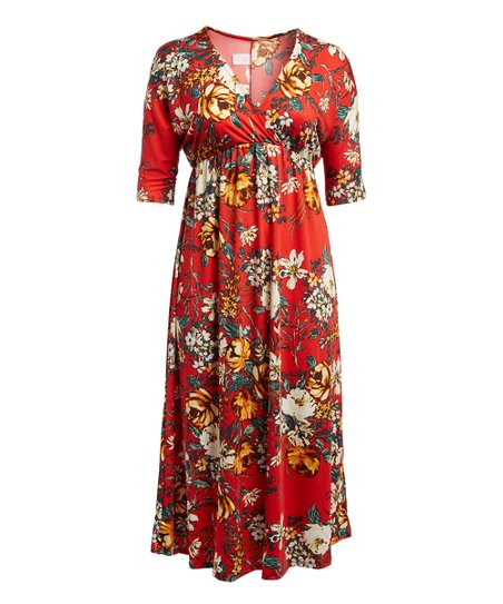 3d6dd46d331 love this product Red   Yellow Floral Kimono-Sleeve Maxi Dress - Women    Plus