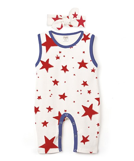 0855e4d19980 Tesa Babe Red   Indigo Stars Romper   Headband - Infant