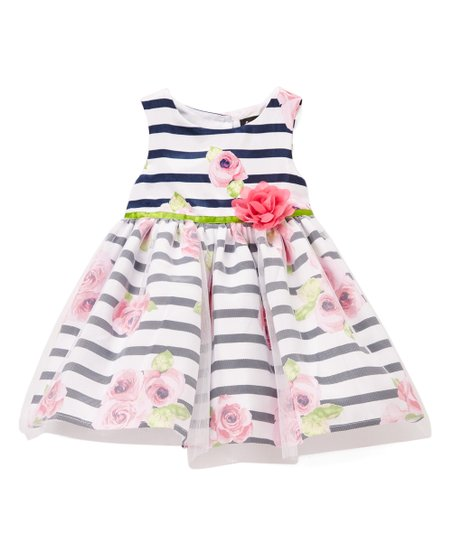 131bf6433dbf love this product Navy   White Floral Stripe A-Line Dress - Toddler   Girls