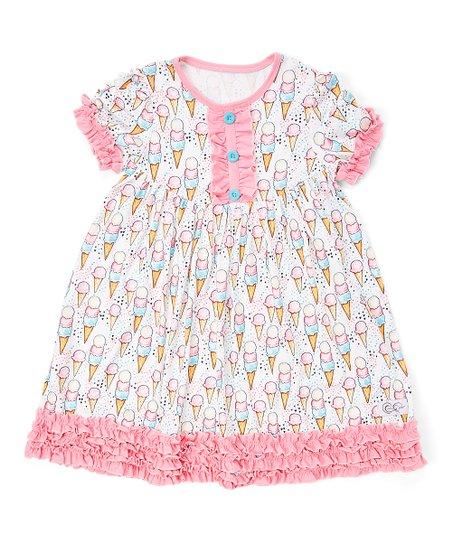 c662c7539c22a Creative Cuties Pink Ice Cream Ruffle Babydoll Dress - Girls   Zulily
