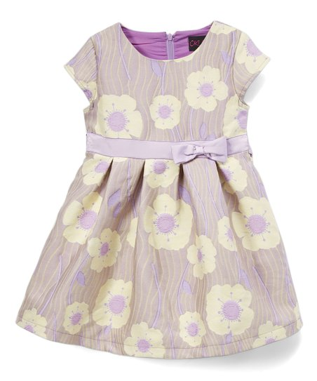 eab98c37ba0b Only Kids Purple   Yellow Floral Jacquard Cap-Sleeve Dress - Girls ...