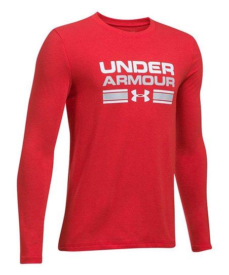 9536e1a3e Under Armour® Red Crossbar Logo Long-Sleeve Tee - Boys | Zulily