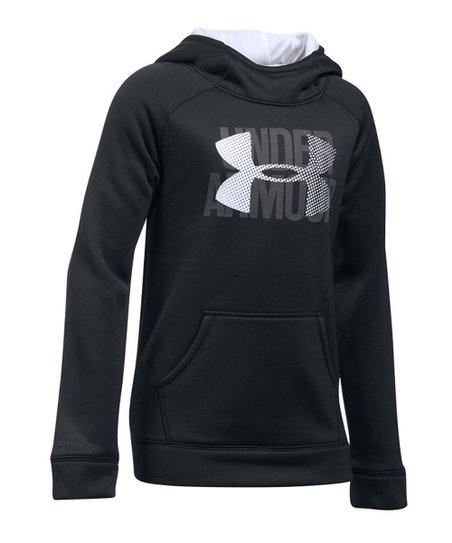 49920e18 Under Armour® Black Armour Fleece® Big Logo Hoodie - Girls   Zulily