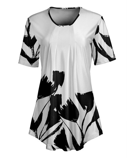 b8777262c0f love this product White & Black Floral Short-Sleeve Tunic - Women & Plus