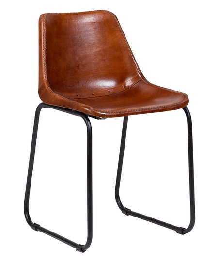 Swell Porter Designs Brown Mandela Leather Side Chair Zulily Cjindustries Chair Design For Home Cjindustriesco