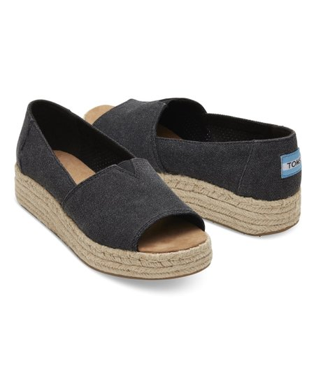 TOMS Black Washed Canvas Open-Toe