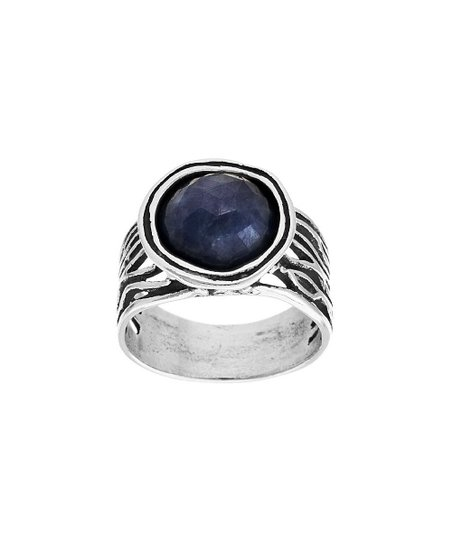 5f767d125c85f love this product Sterling Silver & Navy Sapphire Domed Ring