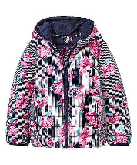 fashion styles entire collection enjoy discount price Joules Stripe Floral Packable Puffer Coat - Toddler | Zulily