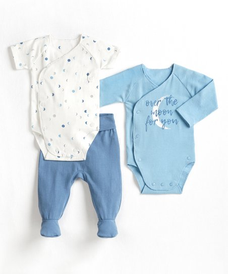 89aabe0d3 love this product Dusty Blue  Moon  Organic Cotton-Blend Bodysuit Set -  Newborn
