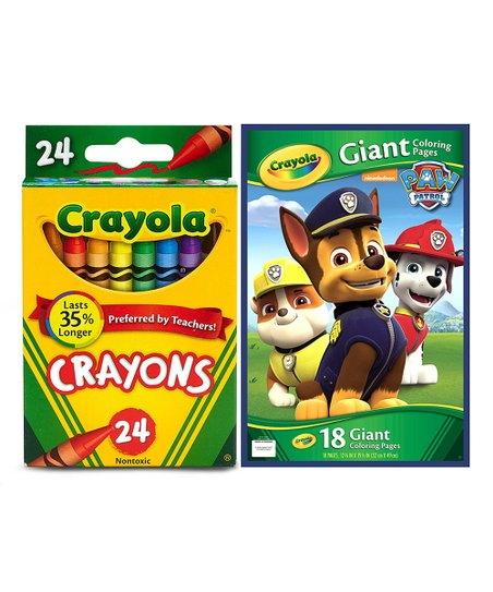 Crayola Paw Patrol Giant Pages Coloring Book 24 Ct Crayons Set