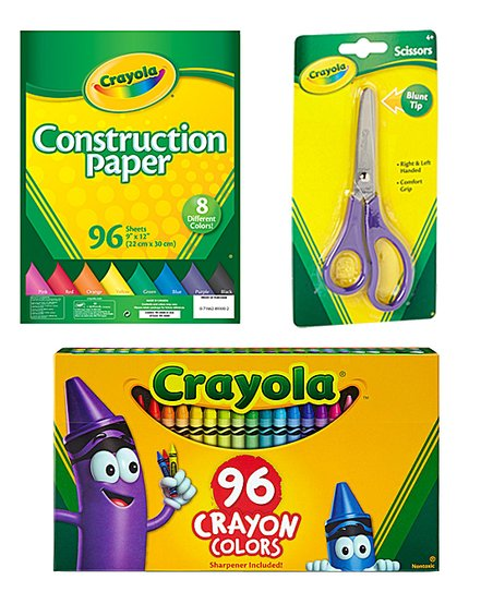 96-Ct. Crayon Set, Blunt Tip Scissors, 96-Ct. Construction Paper Set
