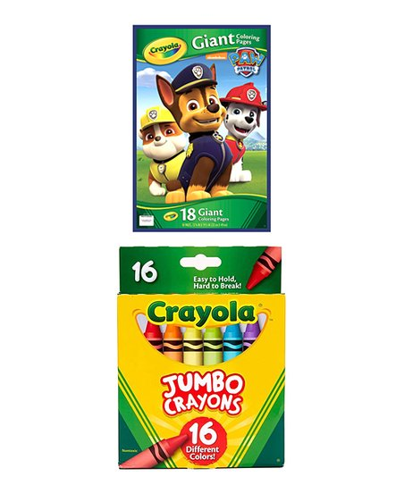 Crayola Paw Patrol Giant Coloring Pages 16 Ct Jumbo Crayons Zulily