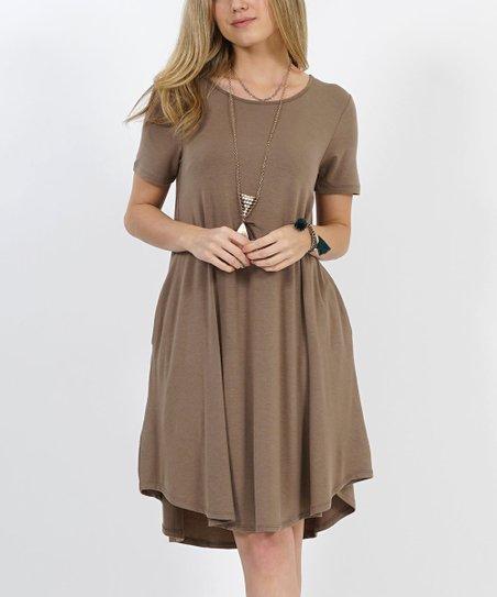 f8830acc315 love this product Mocha Crewneck Short-Sleeve Curved-Hem Pocket Tunic Dress  - Women