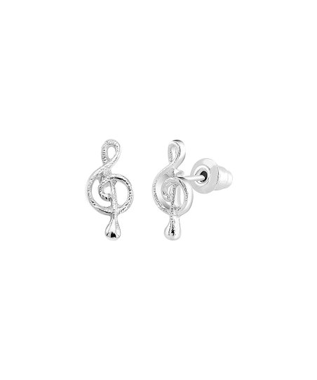 Silver Plated Treble Clef Stud Earrings S