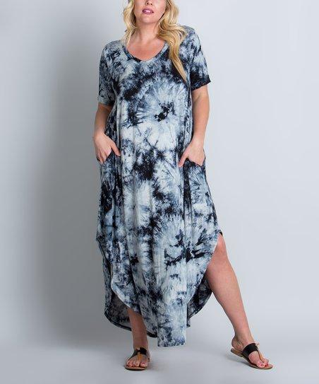 800a956207d love this product Black Tie-Dye Pocket Maxi Dress - Plus