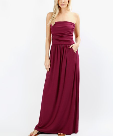 5a42c266086b love this product Wine Side-Pocket Strapless Maxi Dress - Women