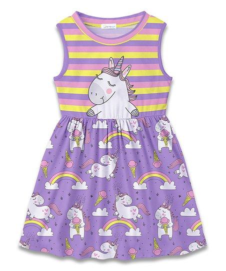 f689f75fb3e2 Sunshine Swing Purple & Pink Unicorn A-Line Dress - Toddler & Girls ...