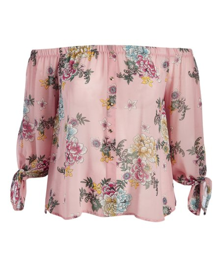 b02d001593c love this product Pink Floral Off-Shoulder Top - Plus