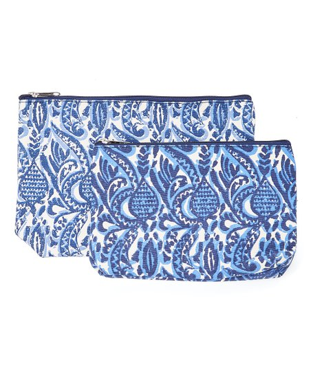 Rockflowerpaper Navy Floral Everly Two Piece Cosmetic Bag Set