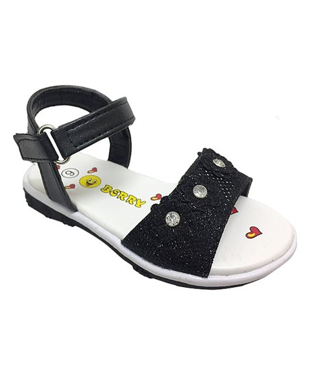 52f1bac596a love this product Black Floral Ankle-Strap Sandal - Girls