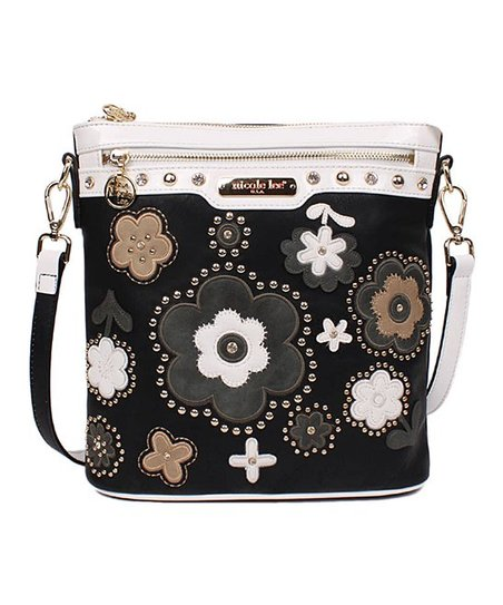 e2127fdbd227 Nicole Lee Black Floral Stud Athena Crossbody Bag
