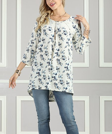 c4742ab80ad love this product Off-White   Blue Floral Crisscross-Back Tunic - Women    Plus