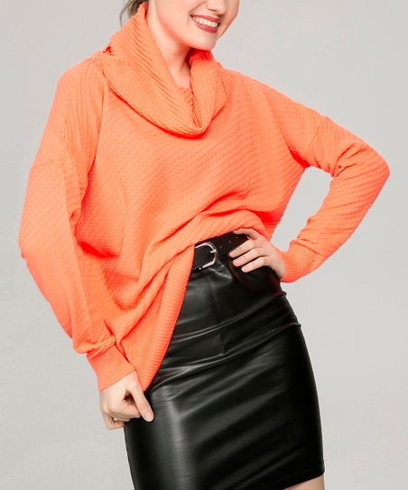New Laviva Orange Cowl Neck Sweater Women Zulily