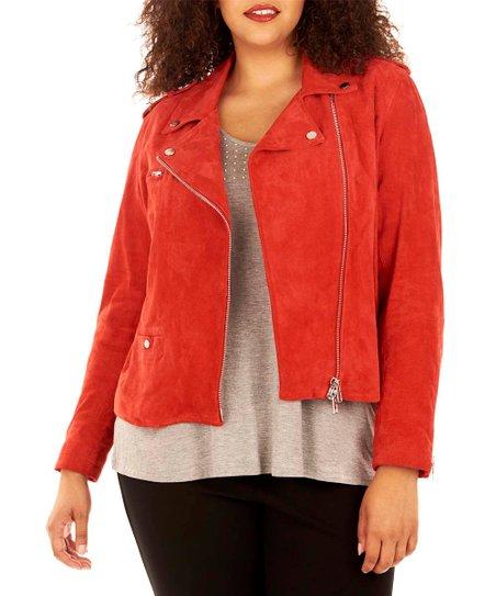 e26bd11a111 Rebel Wilson x Angels Haute Red Suede Moto Jacket