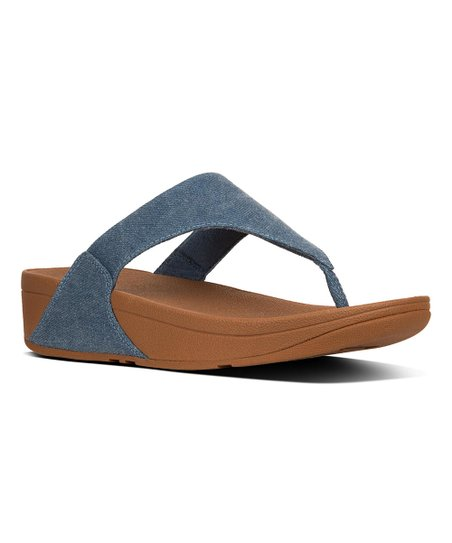 1b0545145edc love this product Blue Shimmer-Denim Lulu Toe-Thong Sandal - Women