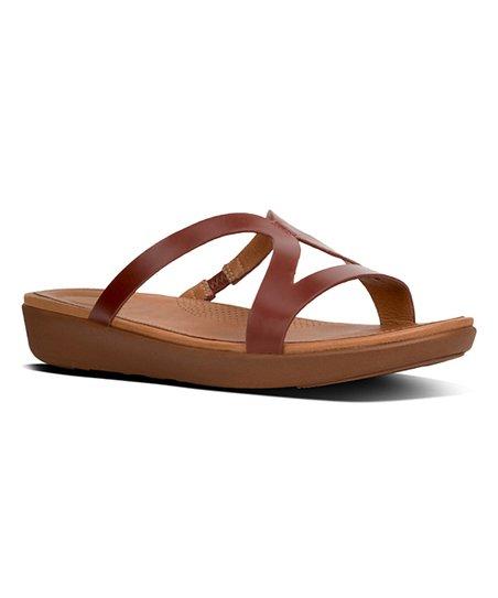1d6cbe479bc FitFlop Cognac Strata Slide Leather Sandal - Women