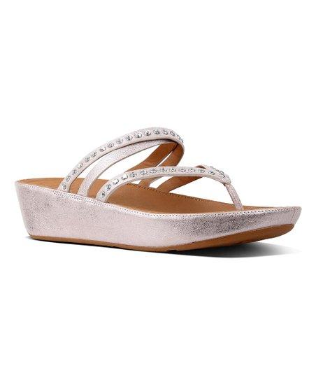 5d08f16d60b92 FitFlop Blush & Metallic Nude Linny Criss Cross Toe-Thong Leather Sandal -  Women