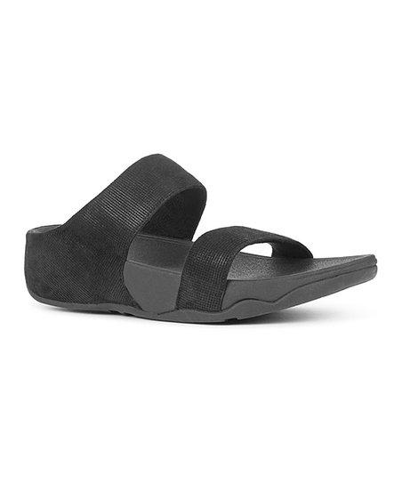 646fe6cd2 FitFlop Black Lulu Shimmer-Check Suede Slide Sandal - Women