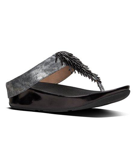7ab5b8d972c FitFlop Black Shimmer-Print Cha Cha Leather Sandal - Women