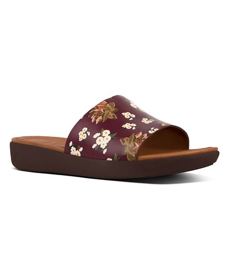 0ca29b497 FitFlop Berry Mix Dark Floral Sola Leather Slide - Women | Zulily