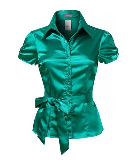 c9815faf5b9b love this product Emerald Green Satin Tie-Waist Button-Up Top - Plus