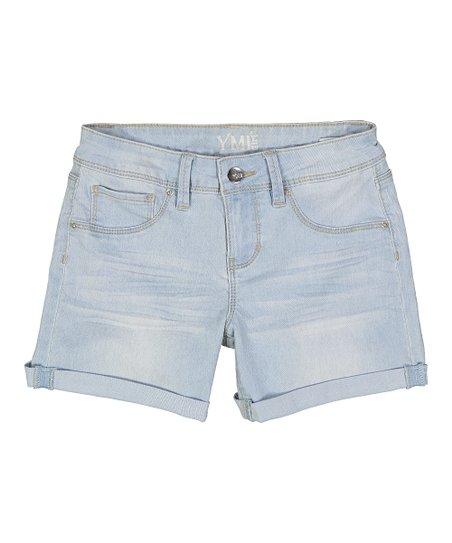 36806fb944 YMI Jeans Light Blue Cuffed Denim Shorts - Girls   Zulily