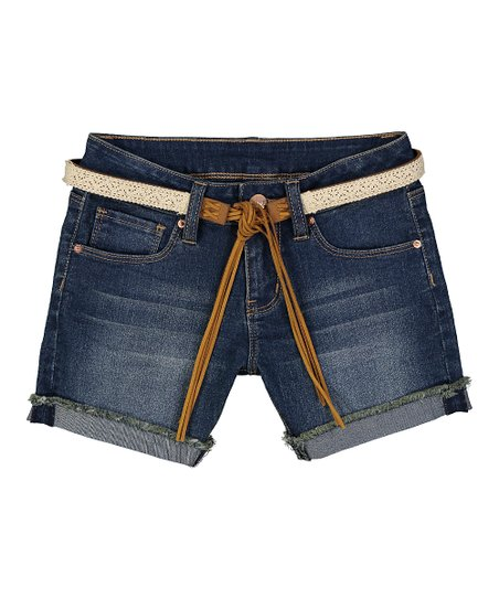7414dce9b2 YMI Jeans Dark Blue Frayed Cuffed Denim Shorts & Belt - Girls   Zulily