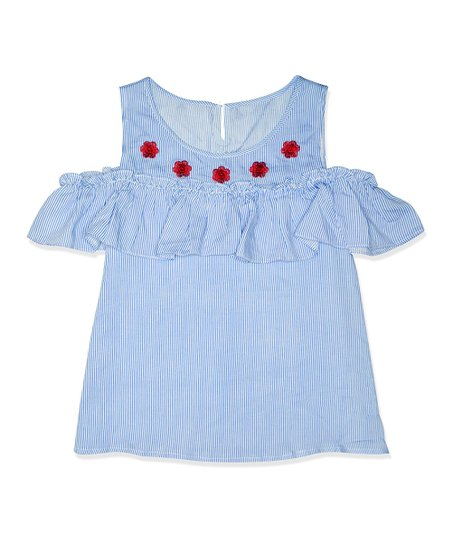 0050b3681f9d5 Cutie Patootie Blue Stripe Flower-Accent Cold-Shoulder Tee - Girls ...