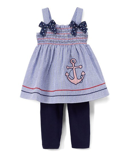 61fb392d7660c2 love this product Navy Stripe & Anchor A-Line Dress & Leggings - Infant